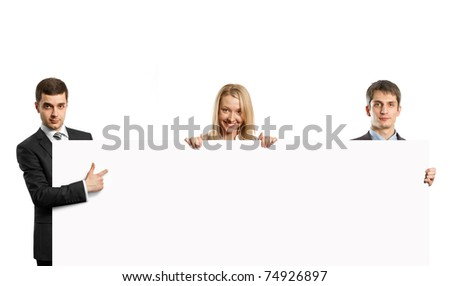 businesspeople holding empty write board in their hands