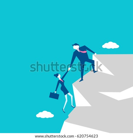 businesspeople in the cliff with teamwork concept