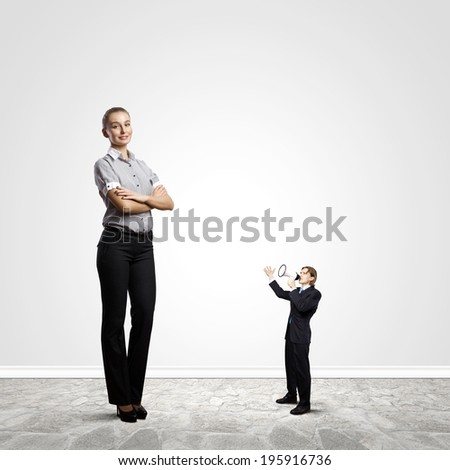 Businesspeople of various sizes. Business relations concept