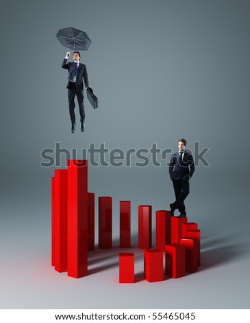 businesspeople on 3d stat business background