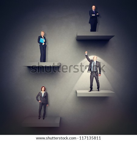 businesspeople on different level 3d background