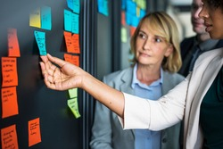 Businesspeople planning tasks with sticky notes