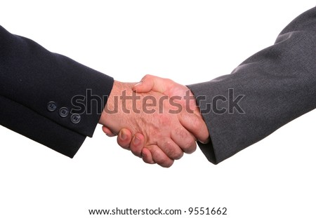Businesspeople shaking hands, finishing up a meeting