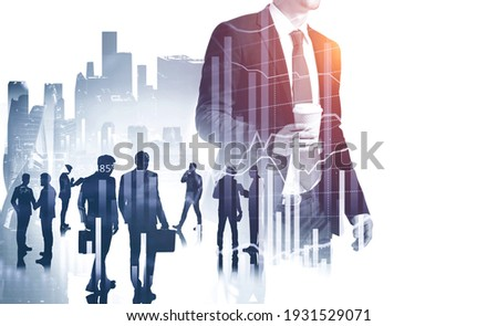 Businesspeople working together, analysts trying to predict stock market behavior. CEO in front view holding a cup of coffee, concept of lunch time and break. New York on background. Double exposure