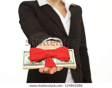 Businessperson giving generous bonus as a corporate gift
