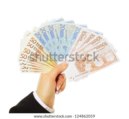 Businessperson paying in euro isolated on white background