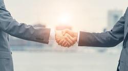 Businessperson shaking hands. Business network.