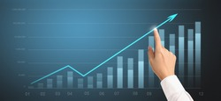 Businessplan graph growth and increase of chart positive indicat