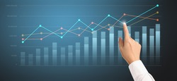 Businessplan graph growth and increase of chart positive indicators in his business