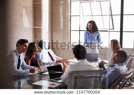 Businesswoman addressing colleagues at a meeting, close up