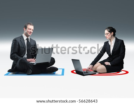 businesswoman and businessman use laptop and sit on 3d background