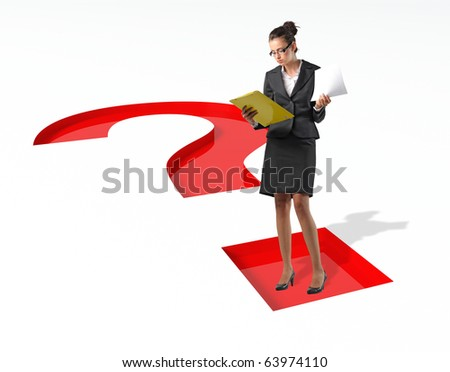 businesswoman and 3d question mark
