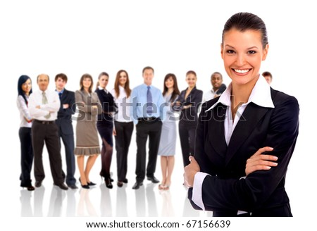 businesswoman and shis team isolated over a white background