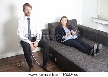 Businesswoman at psychoanalysis