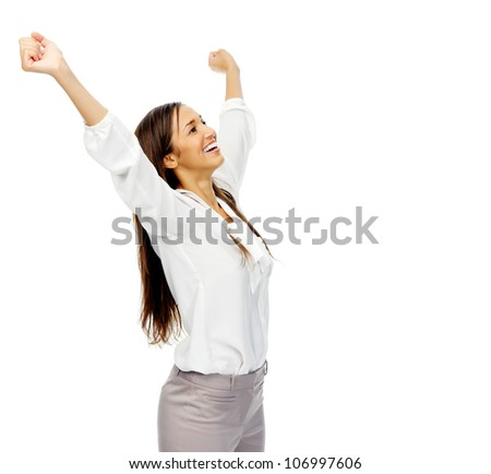 Businesswoman celebrating victory and cheering with arms up in excitement. isolated on white background.