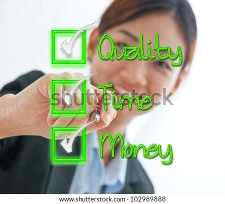 Businesswoman check box concept of time, quality and money isolated on white