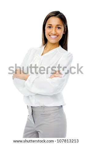 Businesswoman confident portrait of a hispanic woman with arms crossed isolated on white background in studio.
