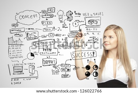 businesswoman drawing plan business strategy