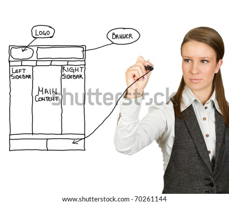 Businesswoman drawing web design sketch (selective focus)