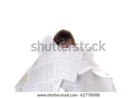 businesswoman drowning in a mountain of papers on white background