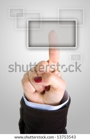 businesswoman finger pushing button