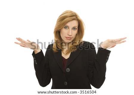 Businesswoman gestures confusion with her hands - stock photo