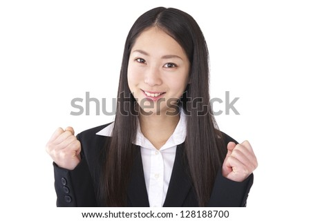 Businesswoman guts to pose