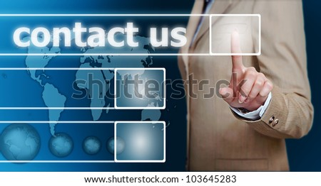 businesswoman hand pressing contact us button on a touch screen interface