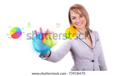Businesswoman hand pressing pie chart button (selective focus)