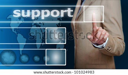 businesswoman hand pressing support button on a touch screen interface