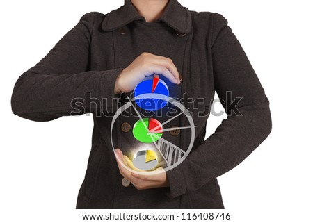businesswoman hand shows virtual pie chart. on white background
