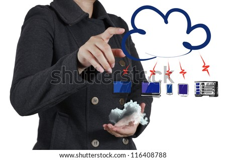 businesswoman hand touch a cloud network concept