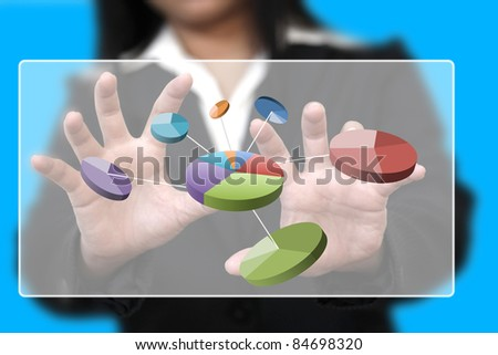 businesswoman hand touch pie chart on touch screen