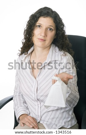 Businesswoman handing out a tissue