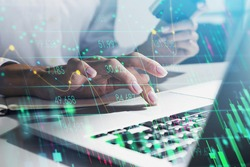 Businesswoman hands, finger on touchpad. Double exposure of stock market changes, green numbers and candlesticks, lines. Concept of online trading