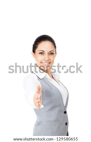 businesswoman handshake, hold hand welcome gesture, young excited business woman happy smile isolated over white background
