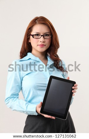 businesswoman has a tablet