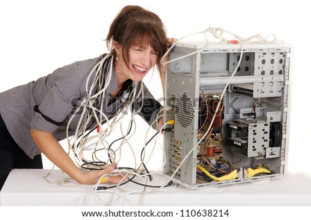 businesswoman having many problems with computer - stock photo