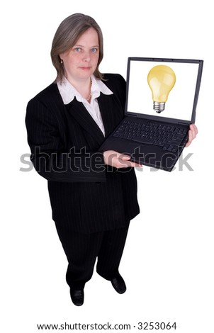 Businesswoman holding a laptop with a lightbulb isolated over white with a clipping path
