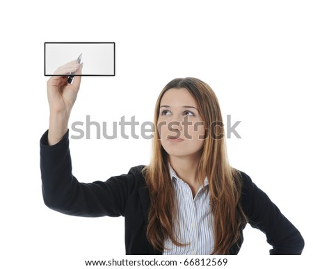 Businesswoman holding a pen. Isolated on white background - stock photo