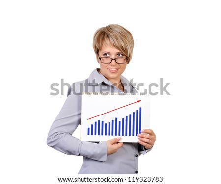 businesswoman holding a sign saying profits