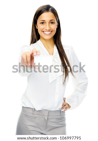 Businesswoman holding blank business card or empty sign with copyspace. isolated on white background.