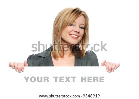 Businesswoman holding blank sign isolated on white on a horizontal format - stock photo