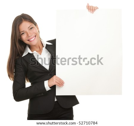 Businesswoman holding blank whiteboard sign. Casual business woman in suit is holding blank billboard placard and showing its empty copy-space. Isolated on white background.