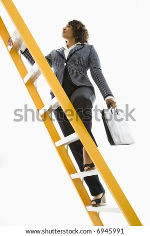 Businesswoman holding briefcase climbing ladder.