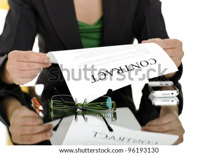 businesswoman holding contract; business concepts