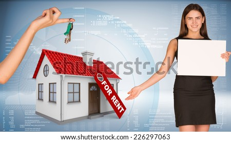 Businesswoman holding empty paper and showing house. Hand giving house key. Business concept