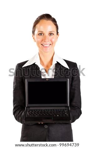 businesswoman holding laptop on white