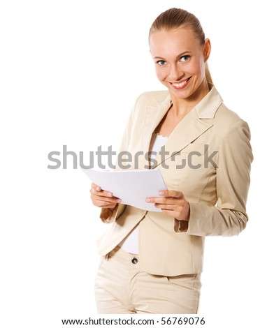 Businesswoman holding papers got idea isolated on white