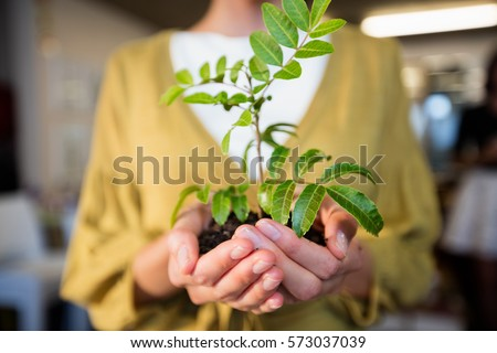 Businesswoman holding plant in the office #573037039